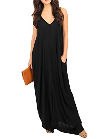 fb82a956749a Image Unavailable. Image not available for. Color: Bdcoco Women's V-neck  Casual Loose Spaghetti Strap Boho Pocket Long Maxi Dresses