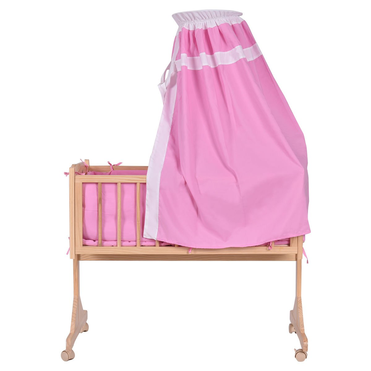 Wood Baby Cradle Rocking Crib Newborn Bassinet Bed Sleeper Portable Nursery Pink by onestops8 (Image #4)