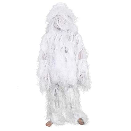 4d06c4baa2e6c Amazon.com : Snow White Ghillie Suit Camouflage Suits 3D Bionic Hunting  Sniper Military Train Sniper Hunting Clothing Winter : Sports & Outdoors