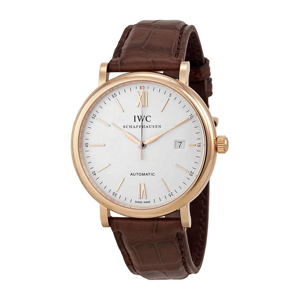Iwc Portofino Silver Dial 18kt Rose Gold Case Brown Leather Strap Automatic Mens Watch 3565 04