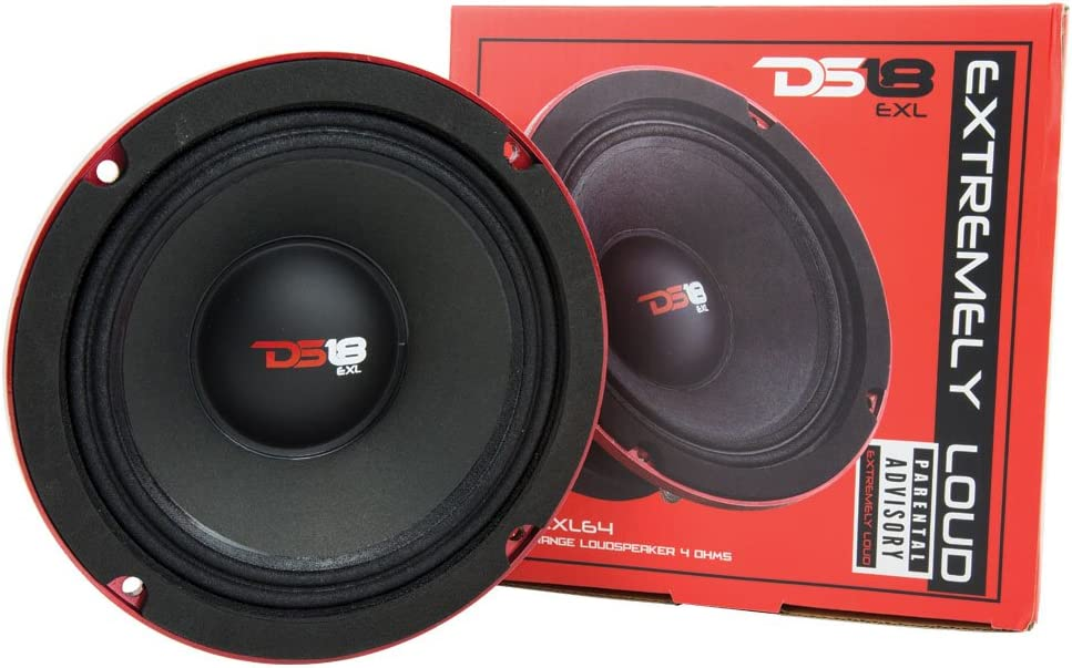 Includes 2X Midrange Loudspeaker 6.5 and 2X Aluminum Super Bullet Tweeter 1 Built in Crossover DS18 PRO-X64.BMPK Mid and High Complete Package Door Speakers for Car or Truck Stereo Sound System