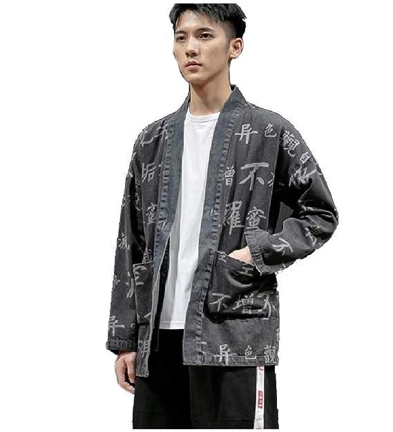 Amazon.com: Losait Kimono Cardigan - Chaqueta para hombre ...
