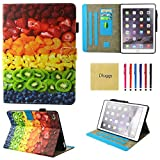 Dluggs New iPad 9.7 2017 Case - Lightweight Slim Fit PU Leather Folio Flip Stand Smart Case for New iPad 9.7 Inch 2017 Model-Fruit