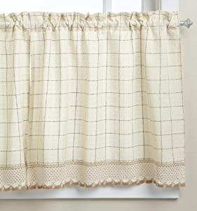 LORRAINE HOME FASHIONS Adirondack Tier Curtain Pair, 60 by 24-Inch, Toast