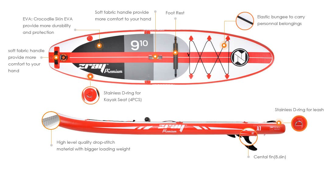 Zray Paddle Board 9'10'' Inflatable SUP Package (Board, Pump, Paddle and Backpack bag), 6'' Thickness by Zray (Image #4)