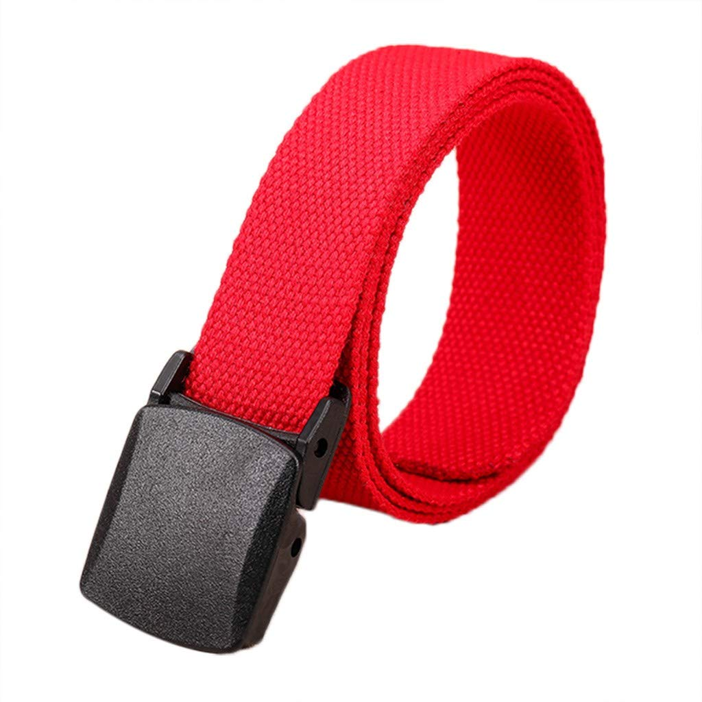 Fashion Waist Belt, Dingji Fashion Women Men Casual Canvas Leisure Belt (Red)
