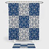 iPrint Moroccan Shower Curtain And Floor Mat Combination Set Turkish Portuguese Style Mosaic Ceramic Patterns Country Style Vintage Image For decoration and daily use Navy Blue White