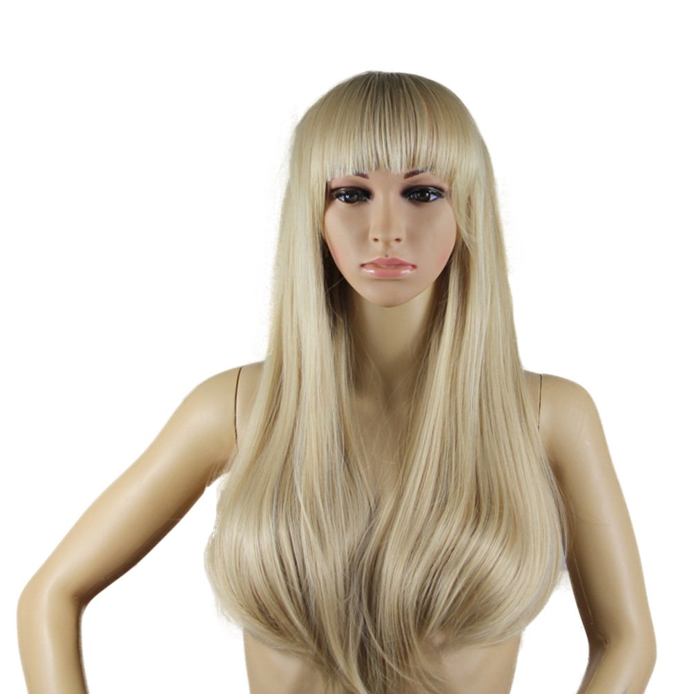 Rise World Wig Glamour Hair Wig 65cm Long Curly Blonde Flat Bangs Cosplay Party Full Hair Wig