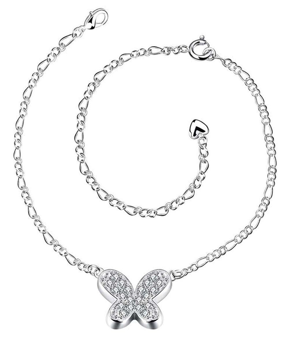 Greendou Fashion Jewelry 925 Sterling Silver Full Zircon Cute Butterfly Pendant Adjustable Chain Anklet