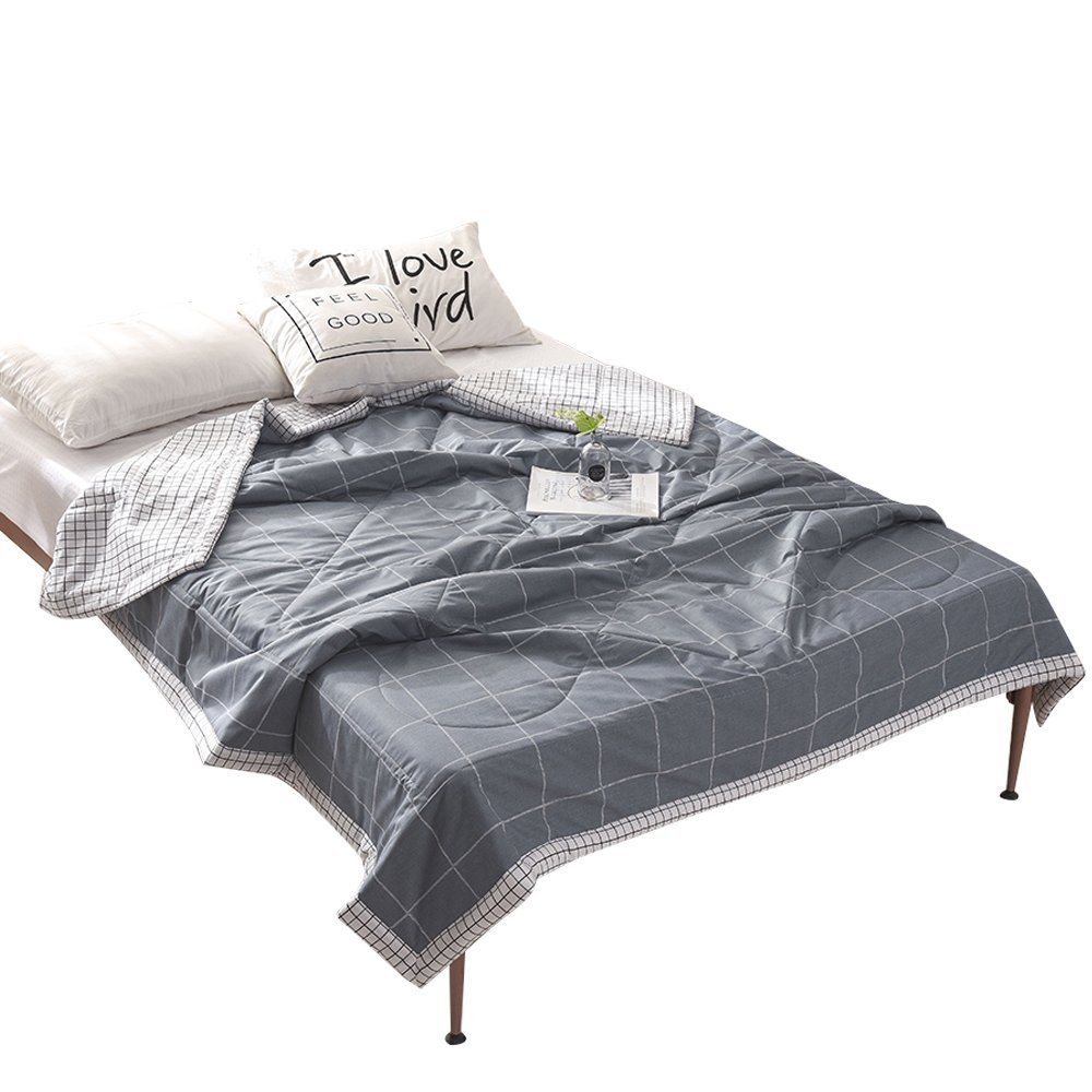 HMTOP [Latest Arrival] Thin Summer Quilts Comforters Cotton Grey Lattice Plaid Air Conditioning Blankets For for Spring Summer Season,Soft, Hypoallergenic, Lightweight 79'' X 91'',Full/Queen