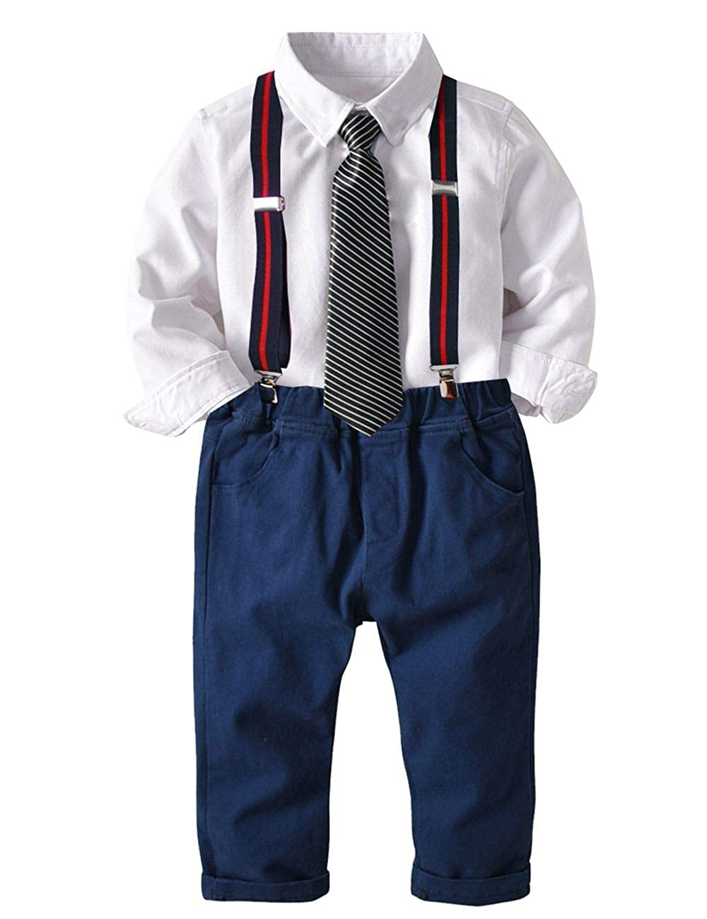 Echinodon Bekleidung Set Baby Jungen Hemd mit Fliege + Hose mit Tr/äger Babyanzug Festlich Bekleidungsset Taufe Anzug