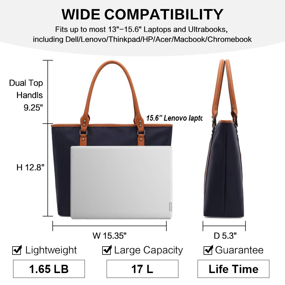 Laptop Bag for Women Lightweight Nylon Work Tote Bags Business School Computer Shoulder Bag Large Capacity Briefcase Accommodate 15-15.6 Inch Laptop,Navy by ZYSUN (Image #6)