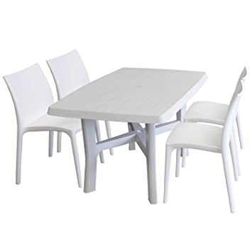 Ensemble de jardin table de jardin rectangulaire, 138 x 88 cm ...