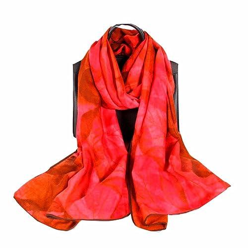yall Impresión Digital De Dama Elegante Bufanda Chal Suave Y Cálido Otoño E Invierno Rojo, Rojo, 75 ...
