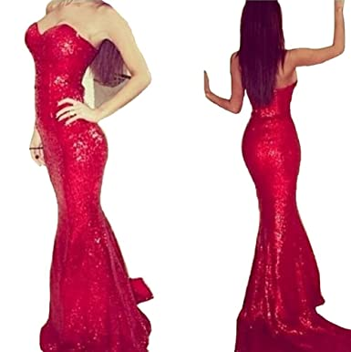 QueenBridal Wholesale Price Mermaid Sequins Red Women Long Evening Dresses