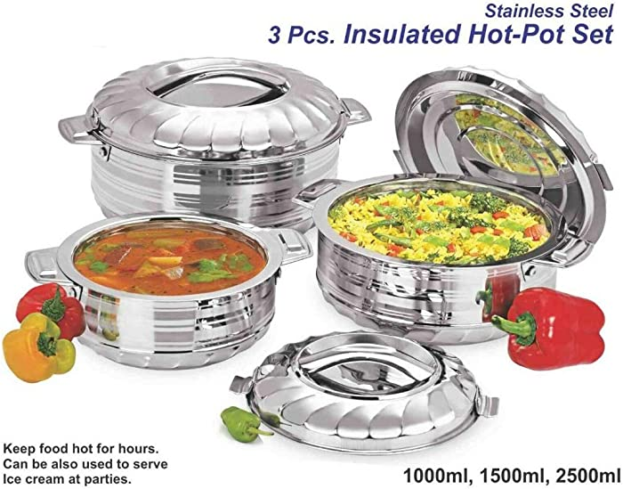 Vinod 3-Piece Insulated Casserole Food Warmer/Cooler Hot Pot Gift Set, 1000mL+1500mL+2500mL, Stainless Steel