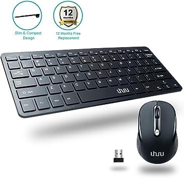 Uhuru compacto 2,4 gHz teclado inalámbrico y ratón alta calidad para Windows 10/8/7, Surface Pro, Notebook, Laptop, Smart TV: Amazon.es: Electrónica