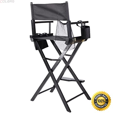 COLIBROX  Professional Makeup Artist Directors Chair Wood Light Weight  Foldable Black New,tall