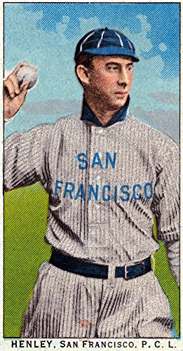 League Henley (San Francisco Pacific Coast League - Henley - Baseball Card (16x24 SIGNED Print Master Giclee Print w/ Certificate of Authenticity - Wall Decor Travel Poster))