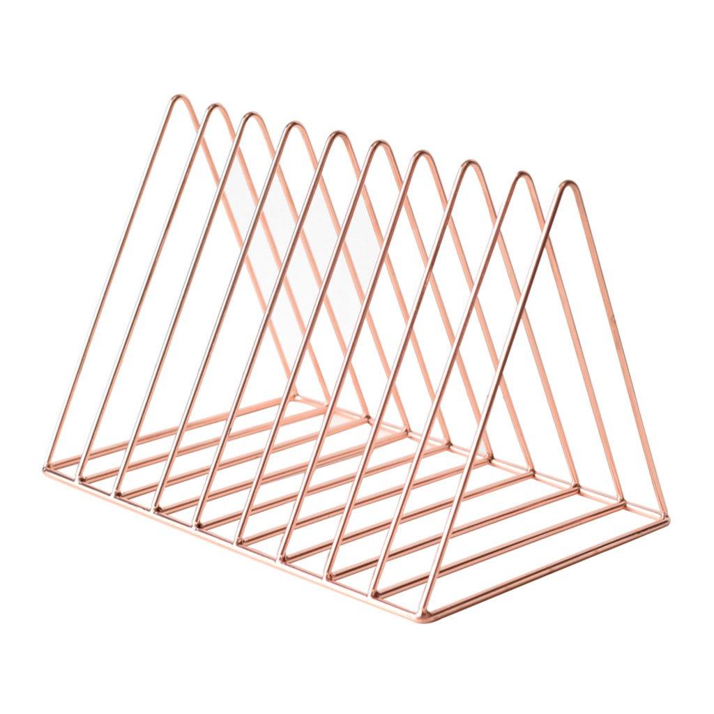 Li Na Home Bookcases Nordic creative minimalist modern iron bookshelf Triangle Magazine Rack Desktop storage rack Desk rack Mini Pyramid Shelf (Easy to carry)