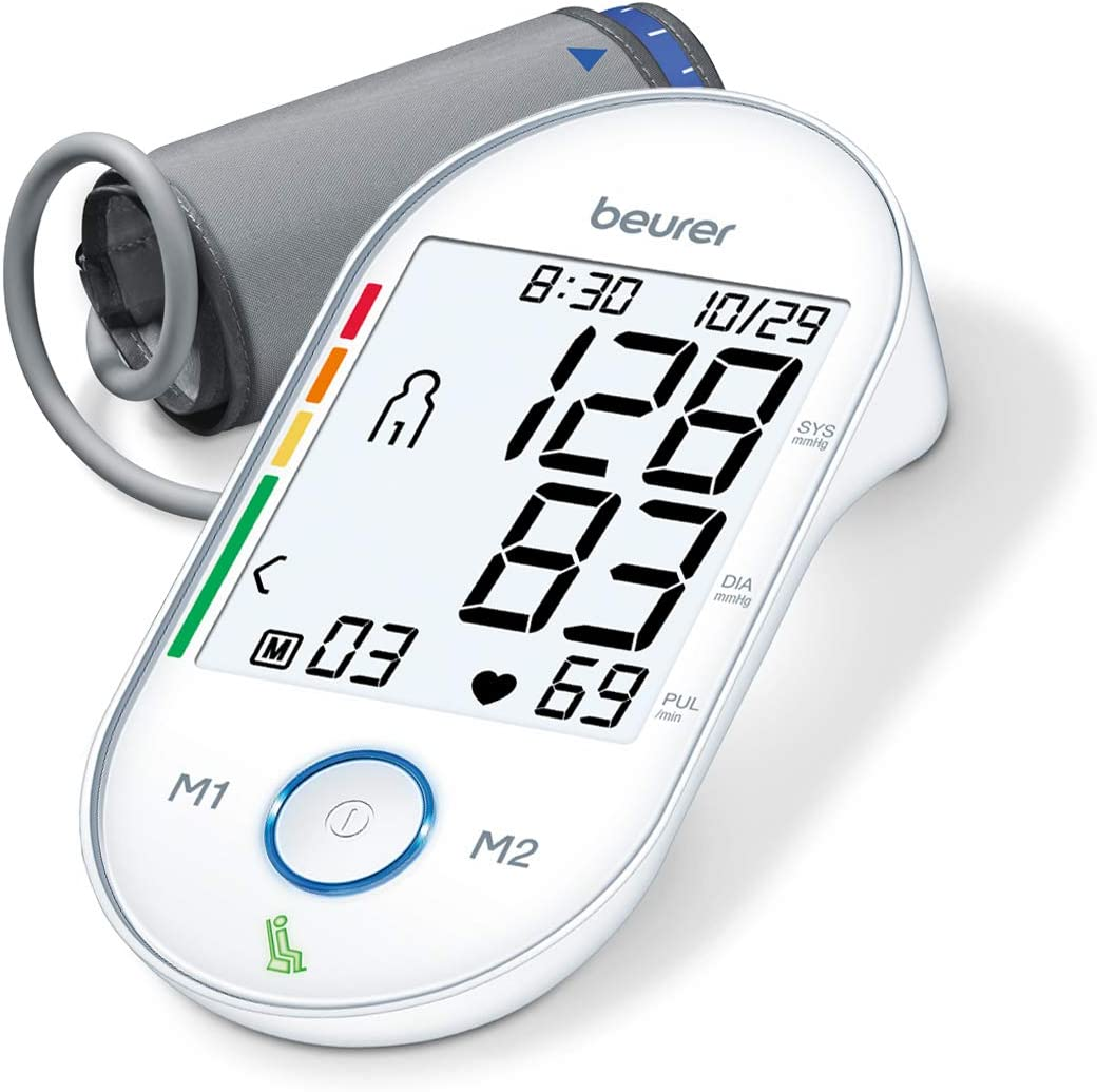 Beurer Upper Arm Blood Pressure Monitor, Blood Pressure Monitor Cuff, Multi-Users Fully Automatic, Illuminated XL Display, BM55