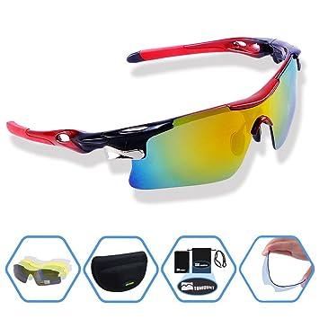 TOMOUNT Gafas de sol Hombre Mujer Wayfarer polarizadas – con 5 vasos irrompible colorés anti-