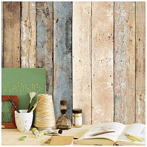 - HaokHome 205 Distressed Wood Plank Wallpaper Rolls Blue/Beige/Brown Wooden Plank Murals Home Kitchen Bathroom Decoration 20.8