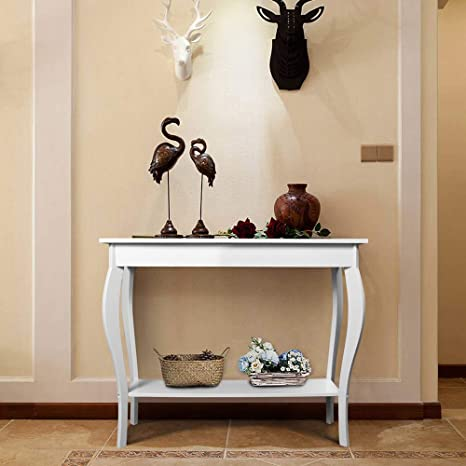 Amazon Com Choochoo Narrow Console Table For Entryway Silm Sofa Table With Wood Curved Legs Tall Entryway Table For Hallway Easy Assembly White New Kitchen Dining