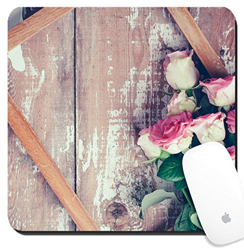 Luxlady Suqare Mousepad 8x8 Inch Mouse Pads/Mat design IMAGE ID 31211338 Bouquet of pink roses and a wooden on old board background vintage color tinting ()