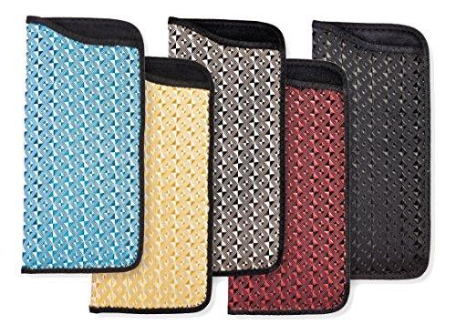 3 Pack Soft Slip In Eyeglass Case And Holder For Women And Men, Illusion Design, Bugundy/Gold/Black