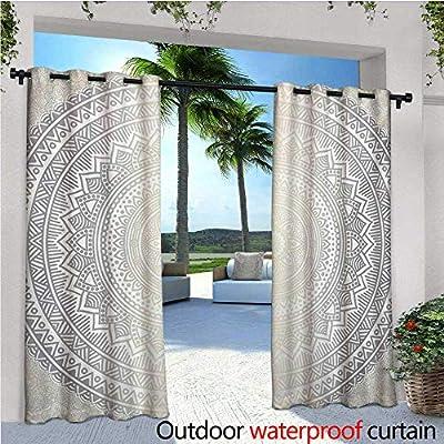 Cortina de privacidad para exteriores gris y blanco para pérgola árabe oriental folk, diseño étnico, histórico, con estrellas geométricas térmicas, repelente al agua, para balcón, color gris y blanco: Amazon.es: Jardín
