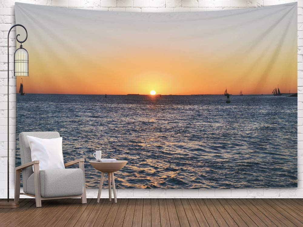 Tooperue Large Wall Hanging Tapestry, Dormitory Tapestry Room Decoration Outdoor 80X60 Inch Beautiful Sunset in The Key West Florida Art Tapestry Beach Blanket Camping Tapestry by Tooperue
