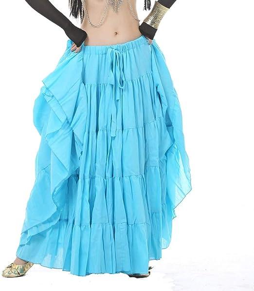 DANCER Falda de Baile para Danza del Vientre, Color Liso, algodón ...