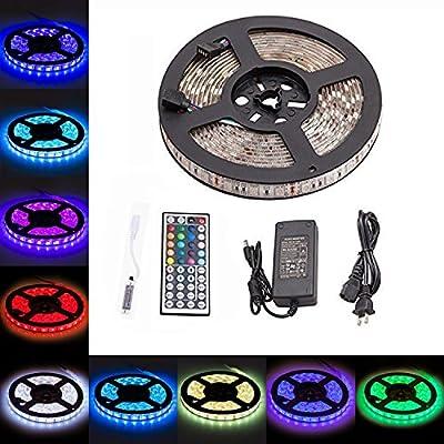LTROP Waterproof 5M SMD5050 150leds RGB Dream Color LED Strips Lighting with 44key Mini IR Remote + 12V 5V Power Supply