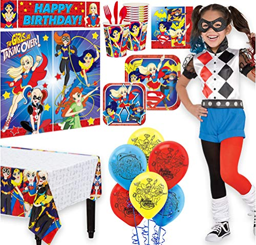 Warner Brothers Super Hero Girls Birthday Party Kit, Includes Harley Quinn Costume 4-6,Tableware,Décor,Balloons,Serves 8 -