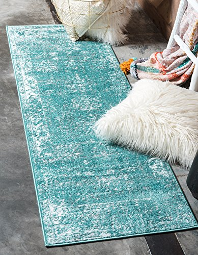 Unique Loom Sofia Collection Turquoise 2 x 7 Runner