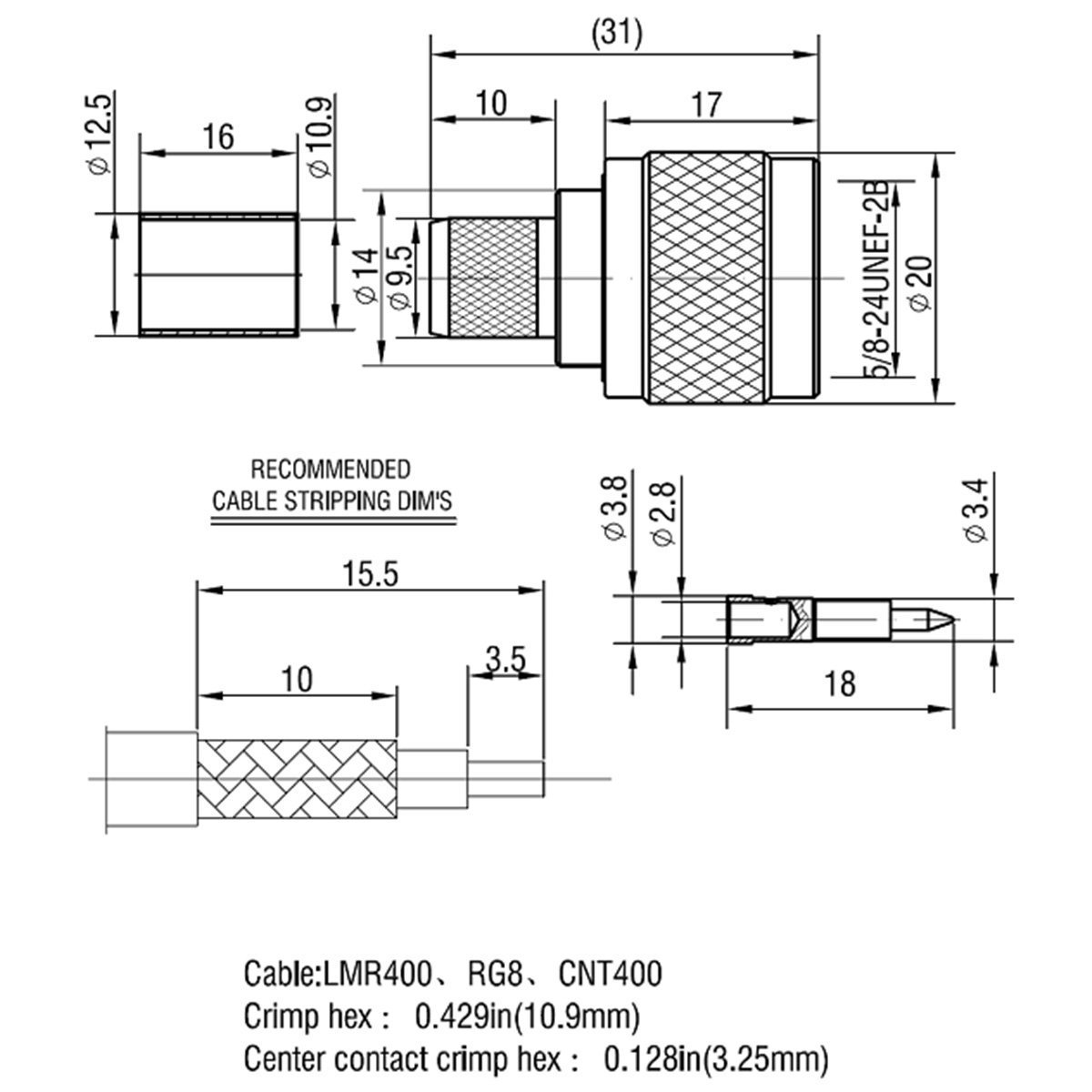Conector N Macho Crimp On Plug coaxial Conector para LMR400 Belden 9913 Cuerpo lat/ón construcci/ón Chapado en n/íquel PTFE aislador 5 Piezas