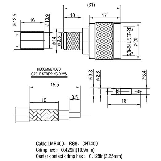 Conector N macho Crimp On Plug coaxial conector para LMR400 Belden 9913 cuerpo latón construcción chapado en níquel PTFE aislador 5 piezas: Amazon.es: ...