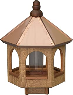 """product image for Saving Shepherd 20"""" Copper TOP Bird Feeder - 14 in. Natural Cedar Gazebo Amish Handcrafted in Lancaster Pennsylvania USA"""