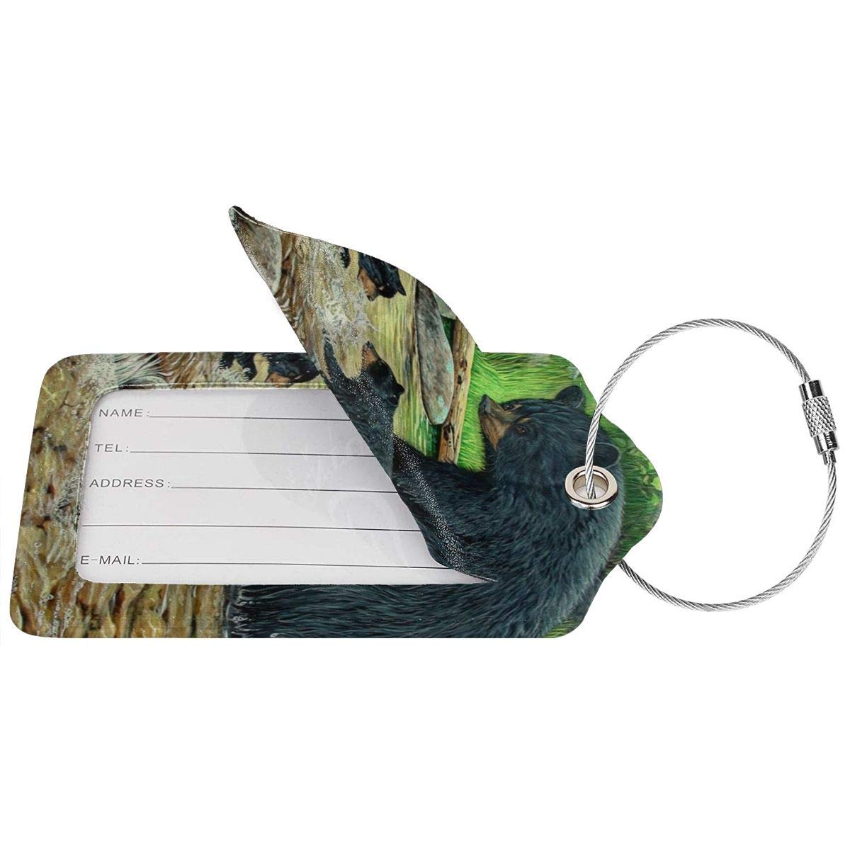 Black Bears Painting Travel Luggage Tags With Full Privacy Cover Leather Case And Stainless Steel Loop