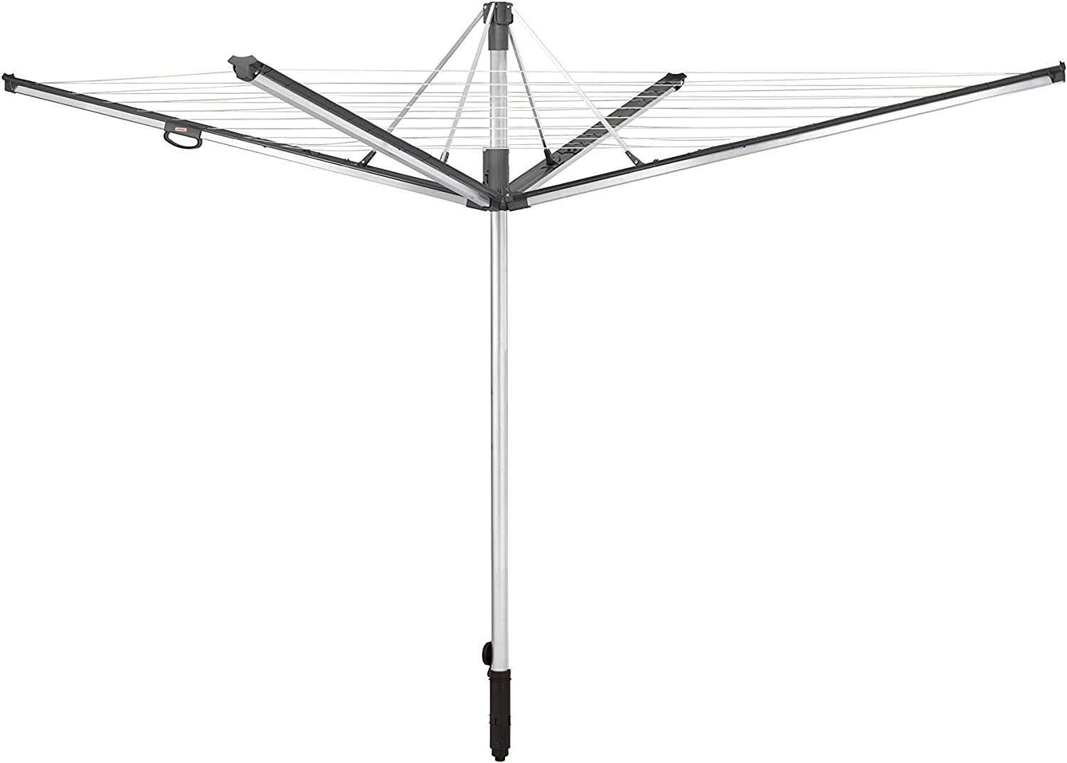 Leifheit Linomatic 600 Plus 60m Rotary Clothes Line, Height Adjustable Arms, Stay Clean Retractable Washing Line, Rust-Free Aluminium Outdoor Clothes Airer 60 m Plus Grey