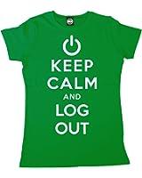 Batch1 Women's Keep Calm And Log Out Computer It Geek Printed T-Shirt