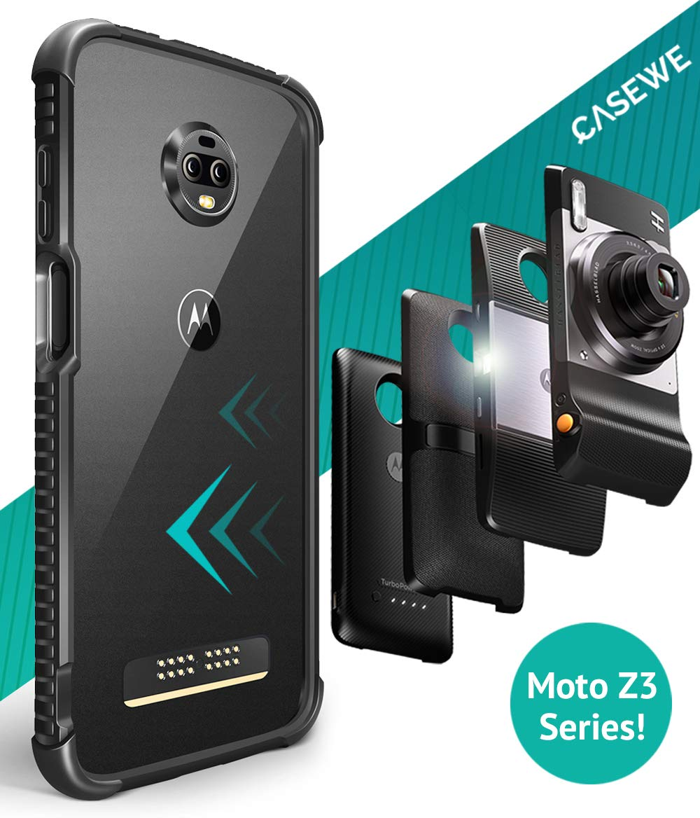 CaseWe - Motorola Moto Z3 / Z3 Play Protective Flexible TPU Bumper Case Cover/Compatible with Moto Mods - All Matte Black by Casewe