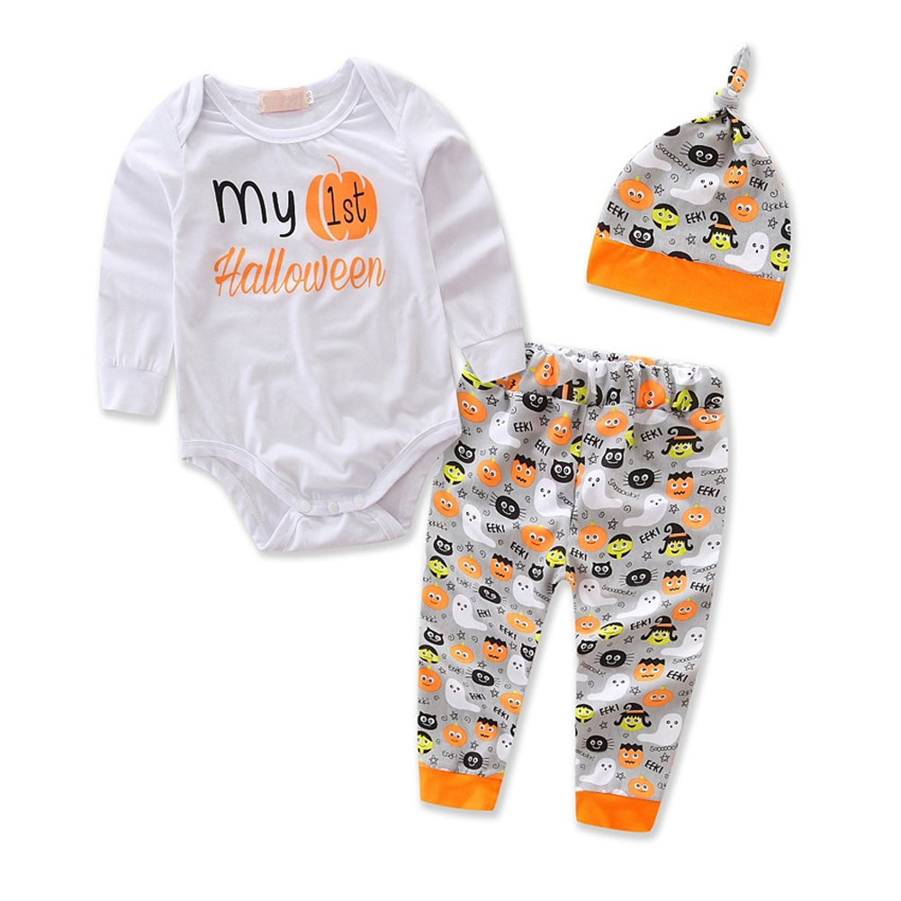 Imcute Newborn Baby Boys Girls My First Halloween Outfit Set Pumpkin Clothes 3PCS