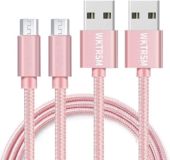 Cable Micro USB Cable 1m Rosa Cargador Carga Rapida Trenzado de ...