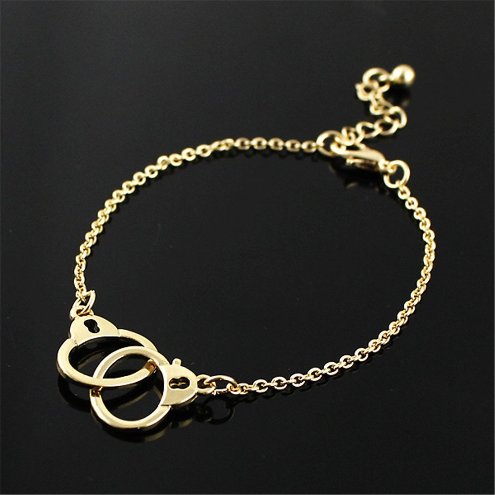 Feelontop® Gold and Silver Color Alloy Cute Handcuffs Link Chain Bracelets with Free Jewelry Pouch BR-3534-GOLD