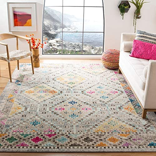 Safavieh Madison Collection MAD418F Boho Diamond Distressed Area Rug