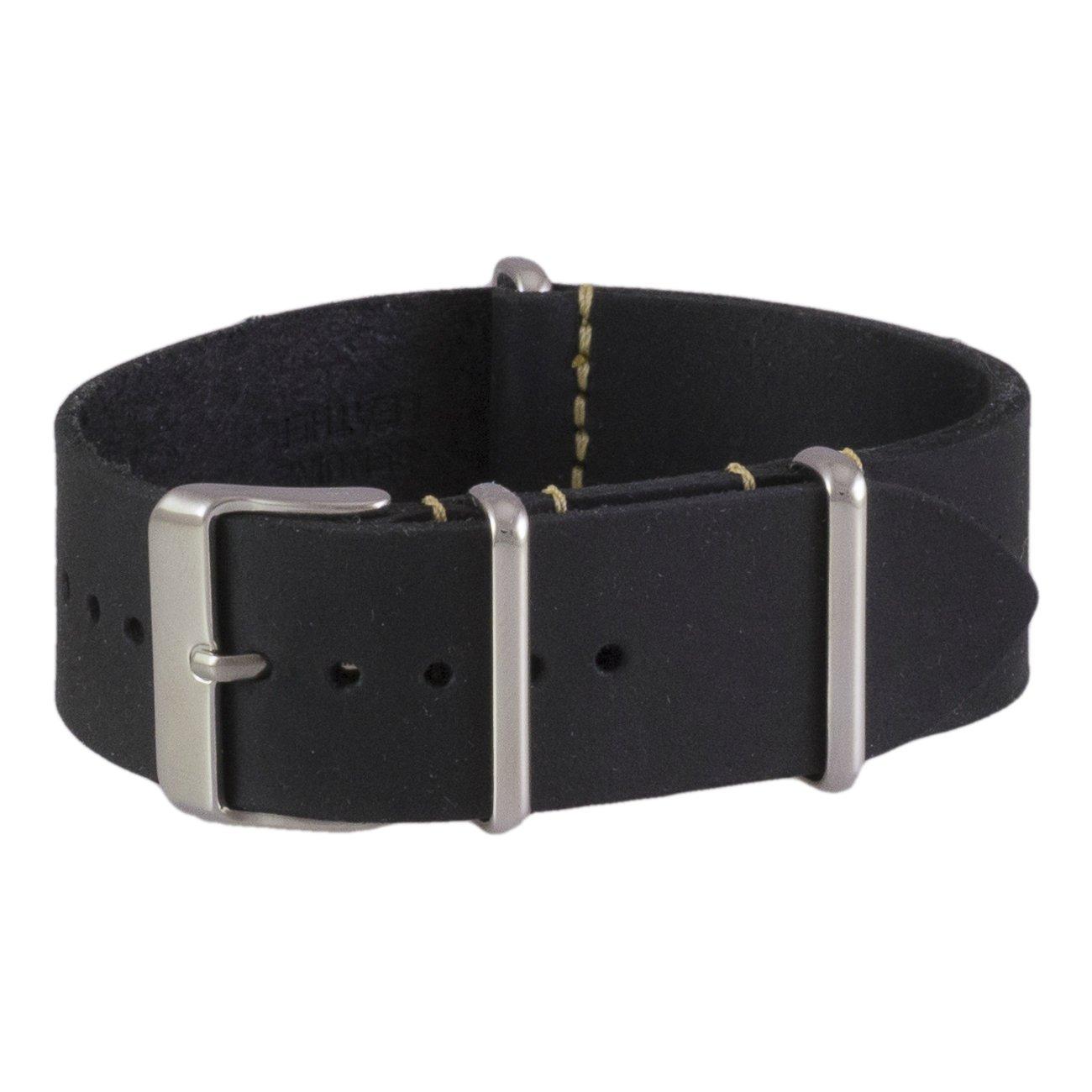 ベンチマークストラップの18、20、22、24mmオイルレザー NATOスタイル腕時計バンドです。(カラーバリエーションがあります。) 22mm ブラックレザー Black Leather Black Leather B01LWMJDQH