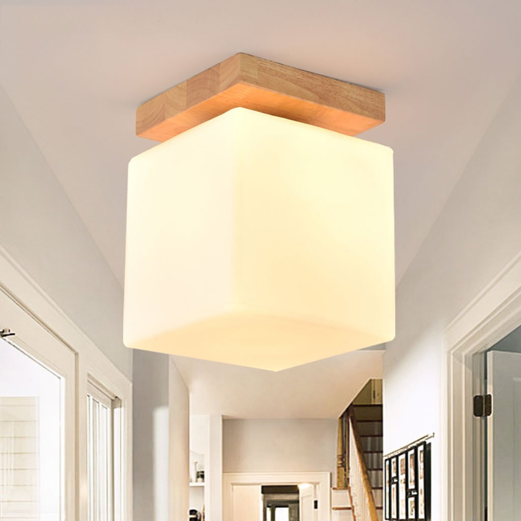 Wsxxn E27 Nordic Minimalist Square Glass Living Room Bedroom Lighting Solid Wood Rubber Wood Fashion Ceiling Lamp (Size : High 15cm)