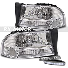 RXMOTOR Dodge Dakota Headlight Bumper Signal Chrome, Drl Led Bumper Lights X2